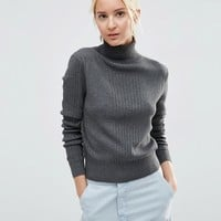 ASOS Jumper With High Neck In Rib In Recycled Yarn