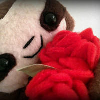 Valentines Cedric The Baby Sloth Plushie With Bunch of Red Roses  (magnetic)