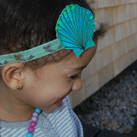 Mermaid Headband Baby Headband, Green Headband,Baby girl Headband,Newborn Headband, Small Bow Headband, Halloween Headbands,Baby Hair Bows