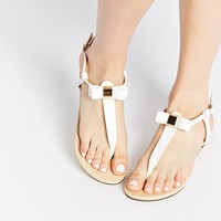 Oasis White Bow Toe Post Flat Sandals