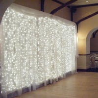 4.5M x 3M 300 LED Icicle String Lights Christmas xmas Fairy Lights Outdoor Home For Wedding/Party/Curtain/Garden Decoration