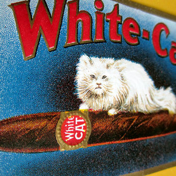 Vintage Embossed White-Cat Cigar Label with a White Long Haired Cat Resting on Cigar Smoking Tobacco Advertising Ready for Scrapbooking
