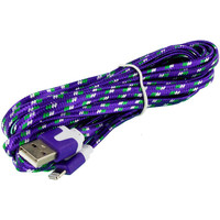 Purple Rope Braided Heavy Duty Lightning Data Sync Cable Charger (10FT) for Apple iPhone 5 / 5S