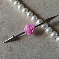 Industrial Barbell With Pretty Pink Rose Body Jewelry Ear Jewelry Double Piercing choose your ends