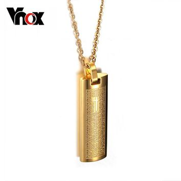 18K Gold Plated Necklace & Pendant Spanish Bible 316l Stainless Steel Cross Religion Jewelry