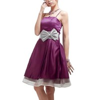 Woman Back Shirred Bowknot Detail Spaghetti Strap Dress