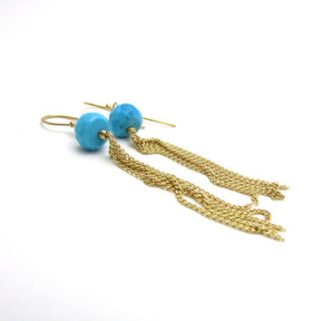 Turquoise tassel earrings, long boho earrings, turquoise jewelry, long gold earrings, bohemian jewelry, long turquoise earrings, boho style