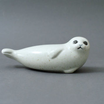 LISA LARSON Seal, Skansen Nordic Zoo Series, 1976, Stoneware Figurine, Gustavsberg, Swedish Scandi Design, Made in Sweden, Retro Classic