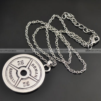 50kg BARBELL Charm Necklace Fitness Weightlifting Gym crossfit DUMBBELL TFS 13315350
