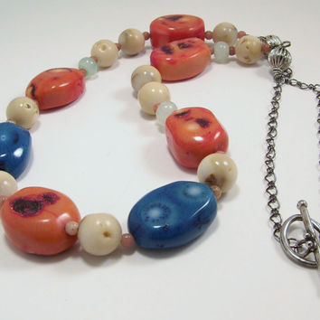 Peacock Blue and Pumpkin Orange Coral Beaded Necklace with Silver Toggle