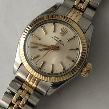 Vintage Rolex Ladies 6719 Oyster Perpetual Two Tone Watch from 1977
