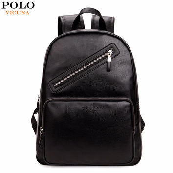 Preppy Style Black Men Backpack Leather Laptop Backpack Fashion Unisex High School Backpacks For College