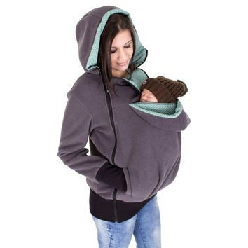 Autumn Spring Maternity Clothes Hoodies Pregnant women Waxed Coats With Kids Baby Sleeping Bag Winter Warm Kangaroo Pouch Coat