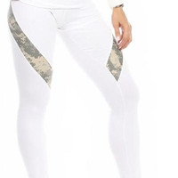 Sexy Hi Lo Waist Universal Camo Pattern Military Work Out Pants - White/Green