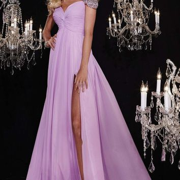 Panoply - 14763 Sparkling Beaded Capped Sleeves Gathered Bodice Evening Gown