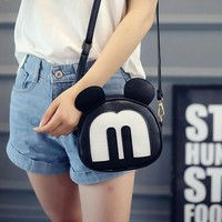 Fashion new Mickey handbag High quality PU leather Women bag Cute Girl Mickey Ear Shoulder Bag  Cartoon mini leisure female bag