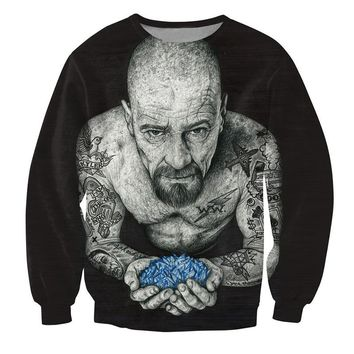 Cloudstyle 2017 3D Sweatshirt Men Crewneck Longsleeve Fitness Pullovers Tattooed Walter White 3D Print Tops Plus Size 5XL