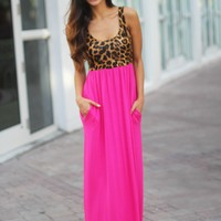 Pink Leopard Maxi Dress with Pockets