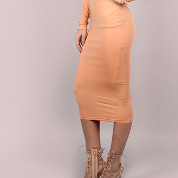 Camel Ribbed Pencil Skirt