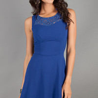 Short Sleeveless Blue A-Line Dress