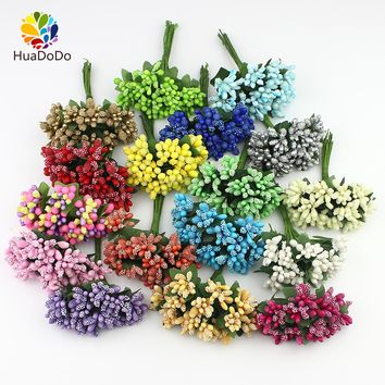 144pcs mini Berry Artificial Stamen Bud flower bouquet for Wedding Box corsage Decoration DIY Craft wreaths Fake Flowers