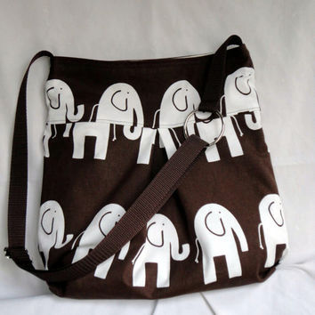 Pleated Hand Bag, Purse, or Diaper bag.  Elephant print with adjustable strap