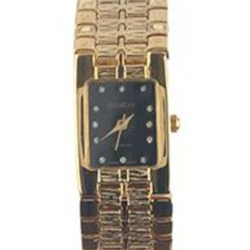 Geneva Rectangular Face Metal Link Band Fashion Watch