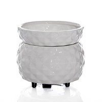 White Textured Pattern 2 in 1 Candle Warmer.