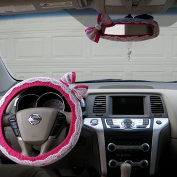 The Original Custom Lace Steering Wheel Cover and Mirror Cover with Matching Bow