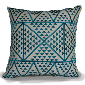 Aztec Decorative Pillow Cover -Embroidered Blue Ivory Linen