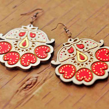 Wood Laser cut Earrings with traditional Russian motifs