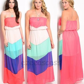 Women Chevron Maxi Dress Color Block Long Maxi Strapless Sun Beach S,M,L1X,2X,3X