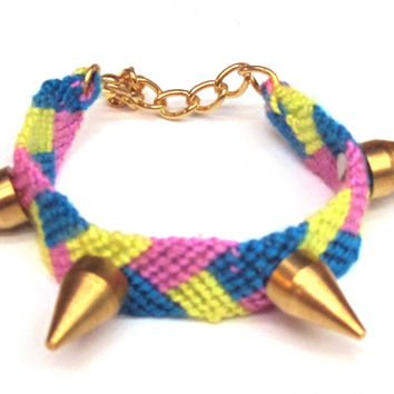 Gold Spiked Friendship Bracelet - Neon Multicolored