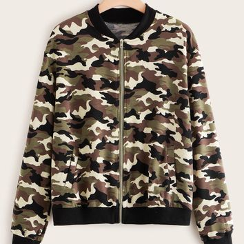 Plus Camo Print Zip Up Bomber Jacket