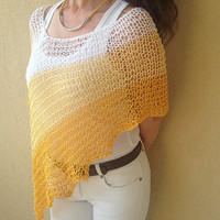 Yellow knit summer poncho,cotton summer poncho, linen summer top, summer wrap, shrug, shawl, boho wear, trendy top,  yellow beach cover ,