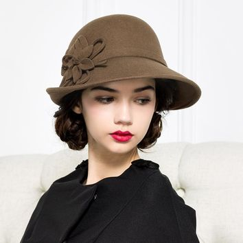 Lady New Fashion Fedoras Hat Women  Flower Wool-end Elegant Retro Small Cap B-4285
