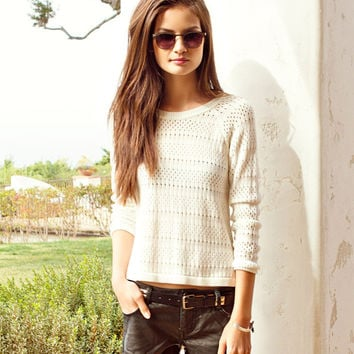 Pointelle High-Low Sweater
