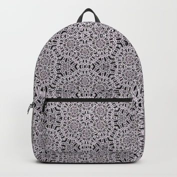 Grey Lace Coin Vintage Inspired Design Backpacks by Sheila Wenzel