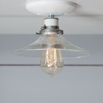 Flat Glass Shade Light - Industrial Ceiling Mount Lamp - Semi Flush Mount