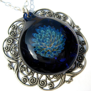 Glass Flower Pendant in Marine Blue Hand Blown Glass by kivaford