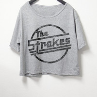 The Strokes,crop top, grey color, women crop shirt, screenprint tshirt, graphic tee