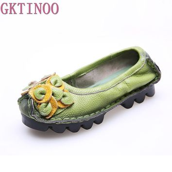 Women Genuine Leather Women's Flat Shoes Woman Moccasins 2017 New Fashion Casual Handmade Flower Women Flats