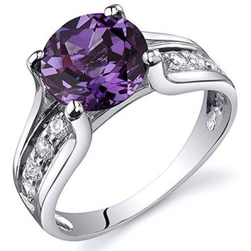 Simulated Alexandrite Solitaire Ring Sterling Silver Rhodium Nickel Finish Sizes 5 to 9