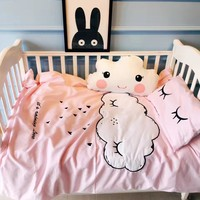 2016 winter new baby crib bedding set cloud embroidery eyelash pattern crib sheet mattress quilt cover