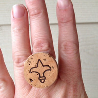 Upcycled Champagne Cork Ring featuring fleur de lis like shape