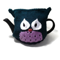 "The ""Oscar Owl"" Tea Cozy - Size Medium - Hand Knitted Tea Cozy - Cute Gift Idea, Kitchen Accessory, Home Decor"