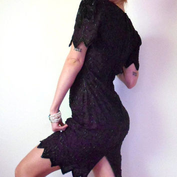 Black Sequin & Beaded Flapper Cocktail Dress Art Deco Laurence Kazar