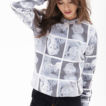 FOREVER 21 Marilyn Monroe Sweatshirt Black/White
