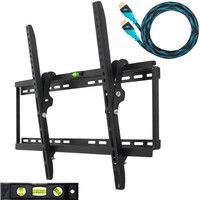 """Cheetah Mounts APTMM2B Tilt TV Wall Mount Bracket for 32-65"""" TVs (Many from 20-75"""") including LED, LCD and Plasma Flat Screens up to VESA 660 x 400 and 165lbs with Flush 1.3"""" Profile. Includes a Twisted Veins 10' Braided HDMI Cable and 6"""" 3-Axis Magnetic B"""