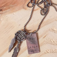 "Handstamped ""open hearts catch dreams"" necklace / feather necklaces / Dreamcatcher jewelry / sayings / inspiration / boho chic / hippie"